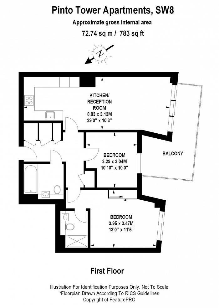 Pinto Tower Apartments, Wandsworth Road, SW8 Floorplan