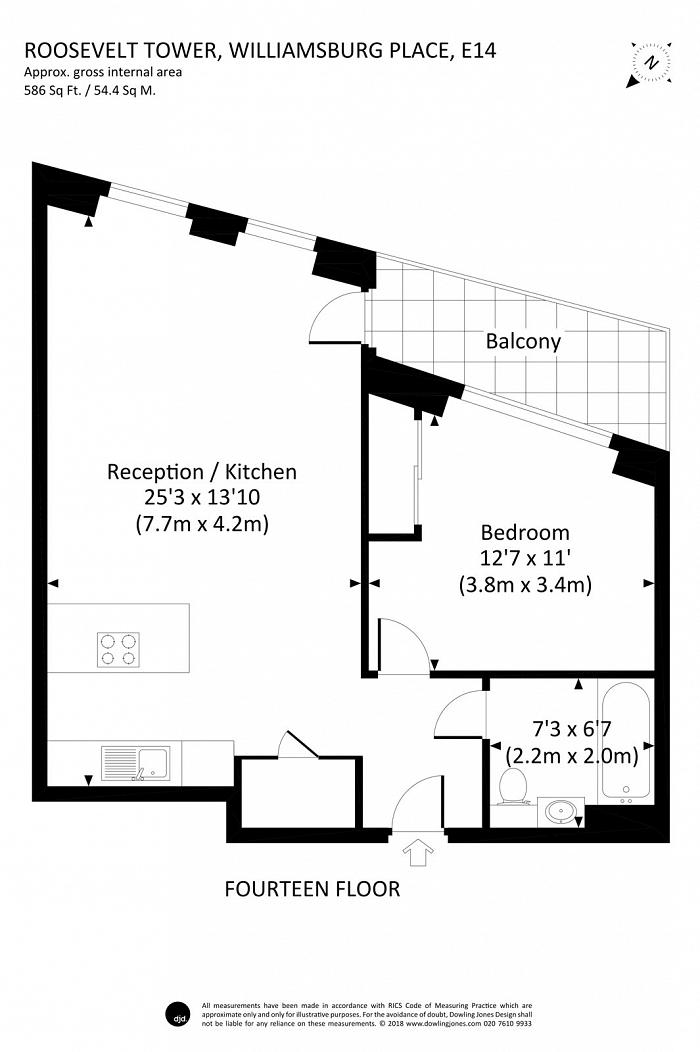 Roosevelt Tower, 18 Williamsburg Plaza, E14 Floorplan