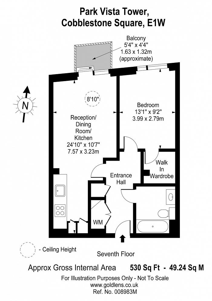 Park Vista Tower, 5 Cobblestone Square, E1W Floorplan