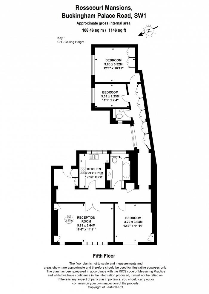 Rosscourt Mansions, Buckingham Palace Road, SW1W Floorplan