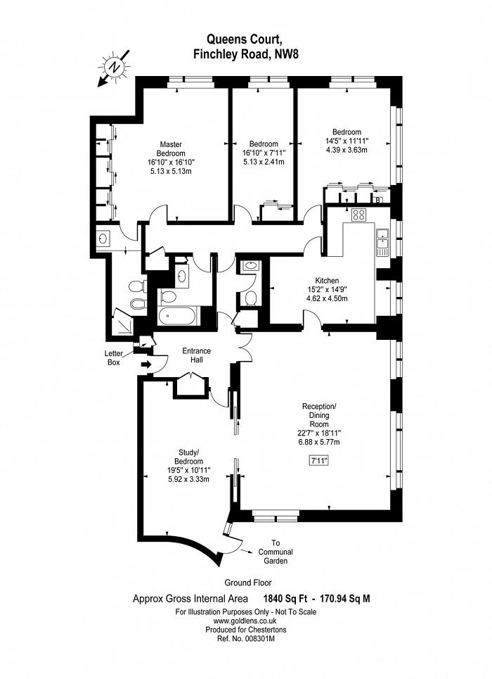 Queens Court, 4-8 Finchley Road, NW8 Floorplan