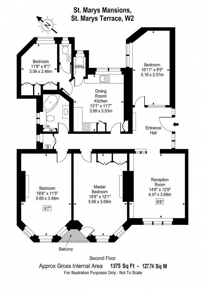 St Mary's Mansions, St Mary's Terrace, W2 Floorplan