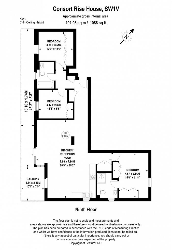 Consort Rise House, Buckingham Palace Road, SW1W Floorplan